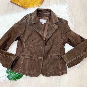 Wilson's Leather Maxima Brown Button Jacket Blazer
